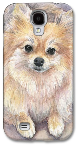 Pomeranian Watercolor Galaxy S4 Case by Olga Shvartsur