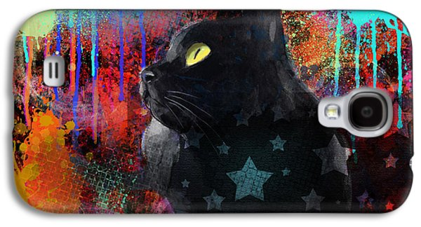 Pop Art Black Cat Painting Print Galaxy S4 Case by Svetlana Novikova