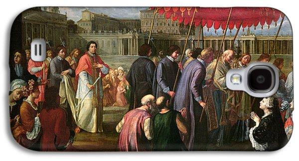 Pope Clement Xi In A Procession In St. Peter's Square In Rome Galaxy S4 Case by Pier Leone Ghezzi