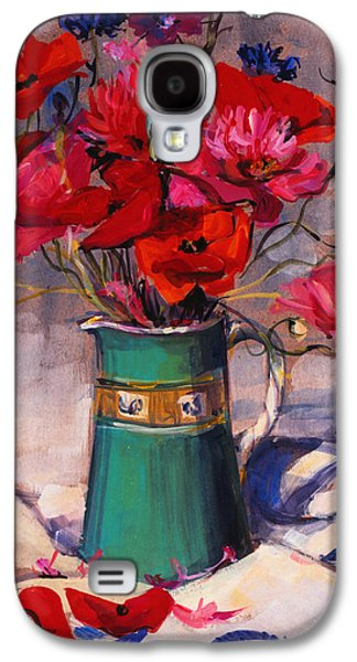 Poppies And Cornflowers In Green Jug Galaxy S4 Case by Sue Wales