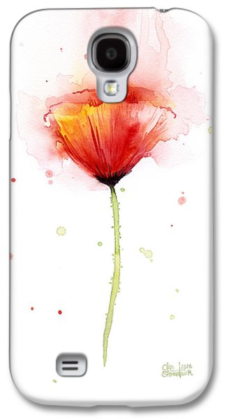 Poppy Watercolor Red Abstract Flower Galaxy S4 Case by Olga Shvartsur