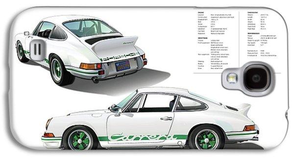 Porsche 911 Carrera Rs Illustration Galaxy S4 Case by Alain Jamar