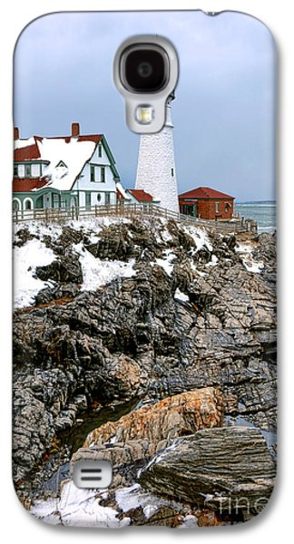 Portland Head Light In Winter Galaxy S4 Case by Olivier Le Queinec