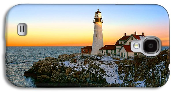 Portland Head Light Winter Sunset Galaxy S4 Case by Olivier Le Queinec