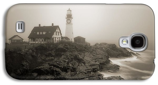 Portland Head Lighthouse In Fog Sepia Galaxy S4 Case by David Smith