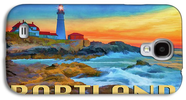 Portland Head Lighthouse Vintage Travel Poster Galaxy S4 Case by Rick Berk