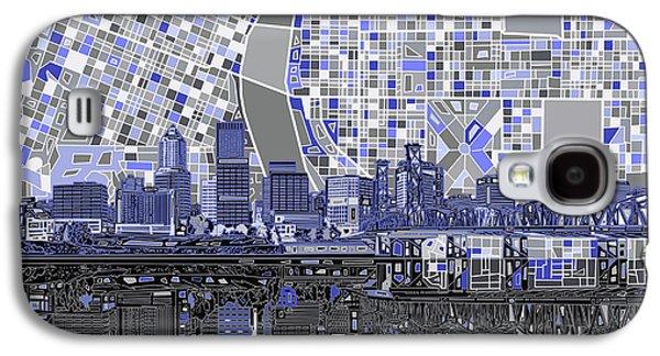 Portland Skyline Abstract Nb Galaxy S4 Case by Bekim Art