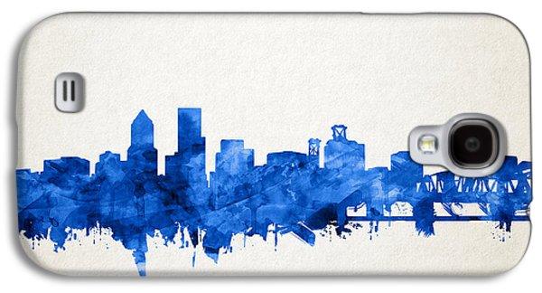 Portland Skyline Watercolor 4 Galaxy S4 Case by Bekim Art