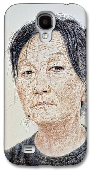 Portrait Of A Chinese Woman With A Mole On Her Chin Galaxy S4 Case by Jim Fitzpatrick