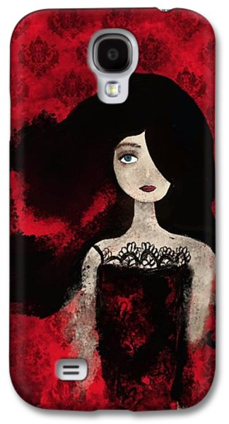 Portrait Of A Lady Amidst A Red Damask Background Galaxy S4 Case