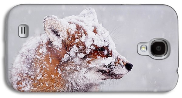 Portrait Of A Red Fox In A Blizzard Galaxy S4 Case
