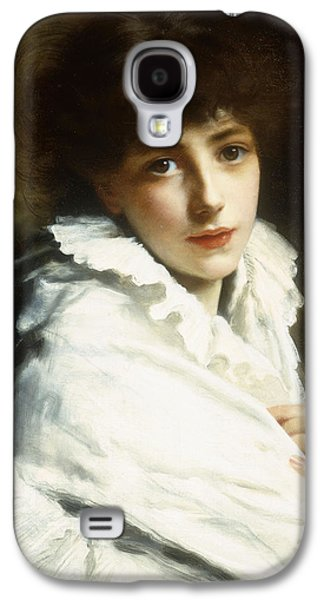 Portrait Of A Young Girl In White Galaxy S4 Case by Gustave Jacquet