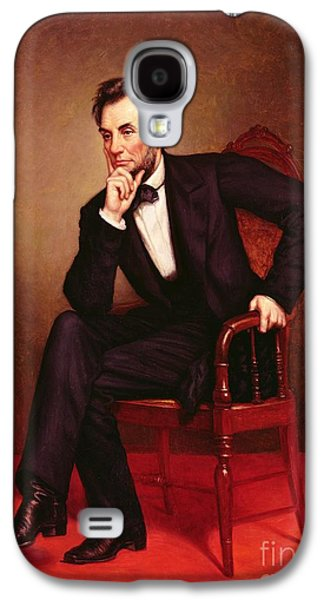 Politician Paintings Galaxy S4 Cases - Portrait of Abraham Lincoln Galaxy S4 Case by George Peter Alexander Healy