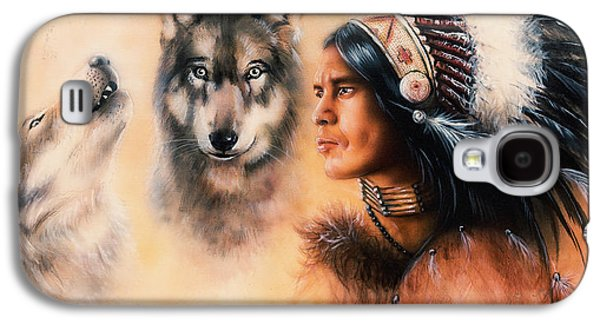 Portrait Of American Indian In National Dress  On Color Backgrou Galaxy S4 Case by Jozef Klopacka