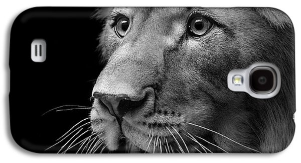 Portrait Of Lion In Black And White II Galaxy S4 Case by Lukas Holas