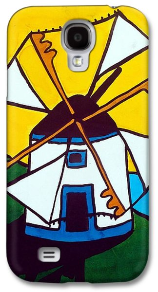 Galaxy S4 Case featuring the painting Portuguese Singing Windmill By Dora Hathazi Mendes by Dora Hathazi Mendes