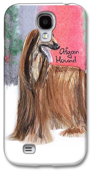 Watercolor Postcard Dogs Afgan Hound Galaxy S4 Case