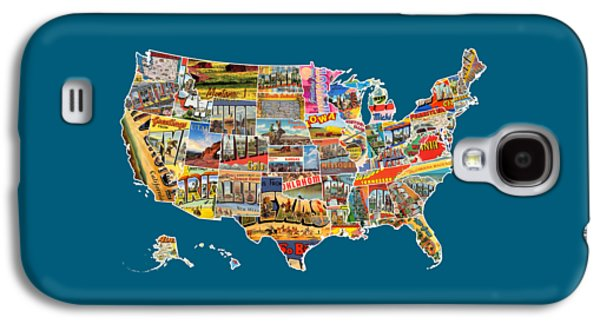 Postcards Of The United States Vintage Usa All 50 States Map Galaxy S4 Case by Design Turnpike