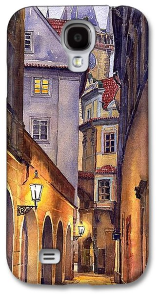 Watercolor Paintings Galaxy S4 Cases - Prague Old Street  Galaxy S4 Case by Yuriy  Shevchuk