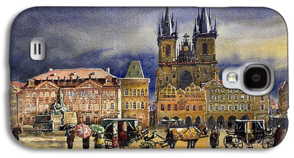 Town Paintings Galaxy S4 Cases - Prague Old Town Squere After rain Galaxy S4 Case by Yuriy  Shevchuk