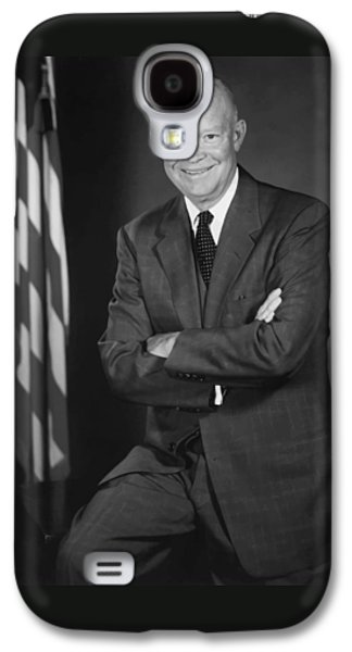 President Eisenhower And The U.s. Flag Galaxy S4 Case by War Is Hell Store