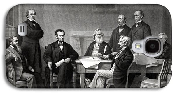 President Lincoln And His Cabinet Galaxy S4 Case by War Is Hell Store
