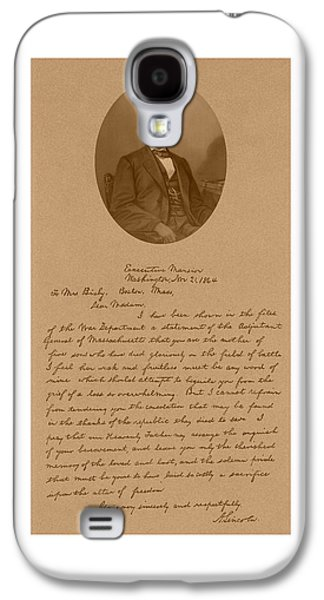 Historian Mixed Media Galaxy S4 Cases - President Lincolns Letter To Mrs. Bixby Galaxy S4 Case by War Is Hell Store
