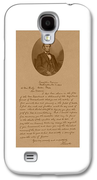President Lincoln's Letter To Mrs. Bixby Galaxy S4 Case by War Is Hell Store