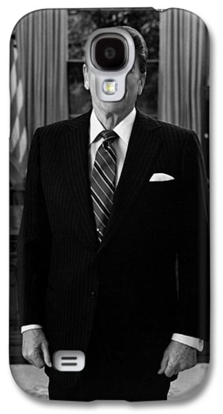 Ronald Reagan Galaxy S4 Cases - President Ronald Reagan In The Oval Office Galaxy S4 Case by War Is Hell Store