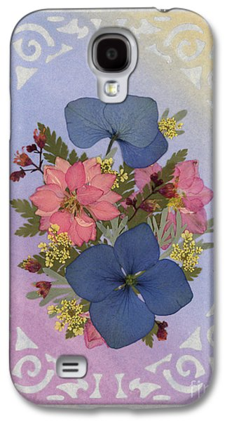 Pressed Flowers Arrangement With Pink Larkspur And Hydrangea Galaxy S4 Case