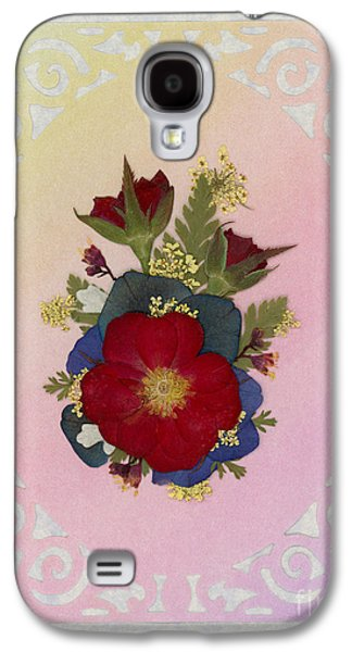 Pressed Flowers Arrangement With Red Roses Galaxy S4 Case