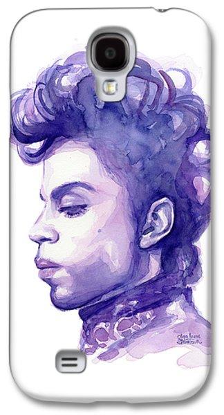 Prince Musician Watercolor Portrait Galaxy S4 Case by Olga Shvartsur