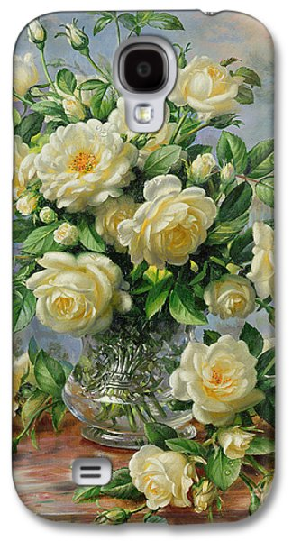 Flower Of Life Galaxy S4 Cases - Princess Diana Roses in a Cut Glass Vase Galaxy S4 Case by Albert Williams