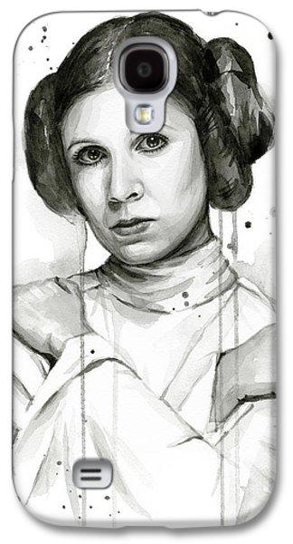 Princess Leia Portrait Carrie Fisher Art Galaxy S4 Case by Olga Shvartsur