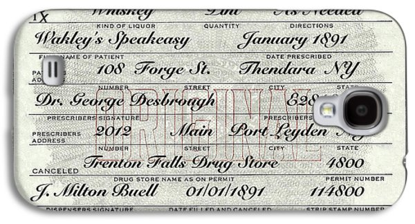 Galaxy S4 Case featuring the photograph Prohibition Prescription Certificate Speakeasy by David Patterson