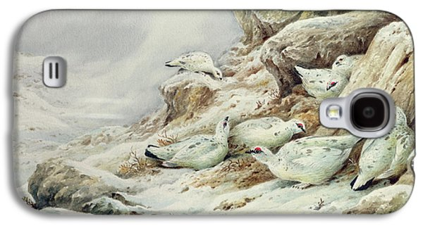Ptarmigan In Snow Covered Landscape Galaxy S4 Case by Carl Donner