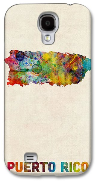 Puerto Rico Watercolor Map Galaxy S4 Case by Michael Tompsett