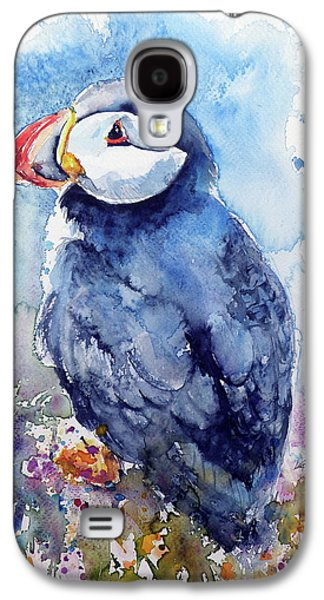 Puffin With Flowers Galaxy S4 Case by Kovacs Anna Brigitta