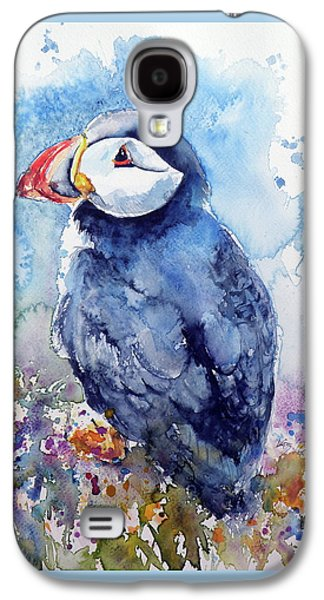 Puffin With Flowers Galaxy S4 Case
