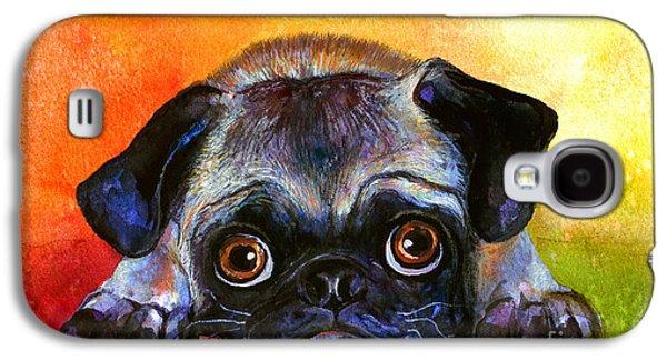 Pug Dog Portrait Painting Galaxy S4 Case