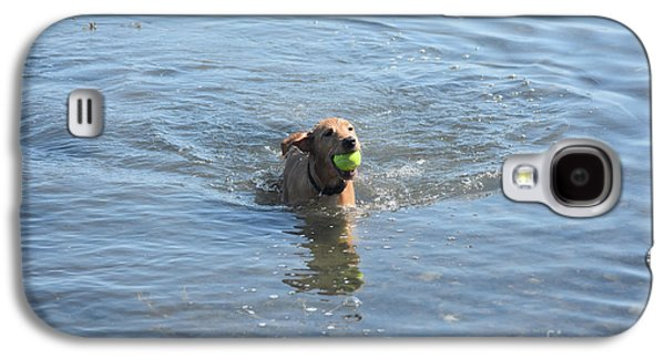 Puppy Playing In The Ocean With A Tennis Ball Galaxy S4 Case by DejaVu Designs