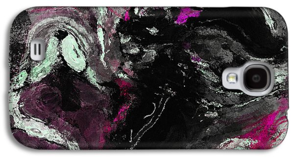 Purple And Black Minimalist / Abstract Painting Galaxy S4 Case by Ayse Deniz