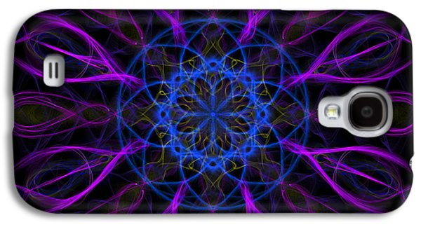 Galaxy S4 Case featuring the photograph Purple Blue Kaleidoscope Square by Adam Romanowicz