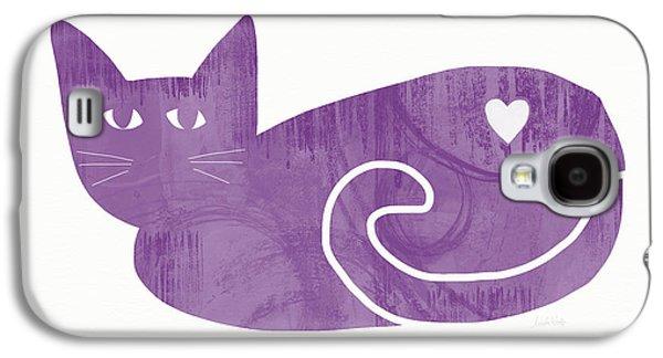 Purple Cat- Art By Linda Woods Galaxy S4 Case by Linda Woods