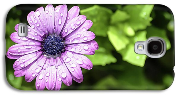 Purple Flower On Green Galaxy S4 Case