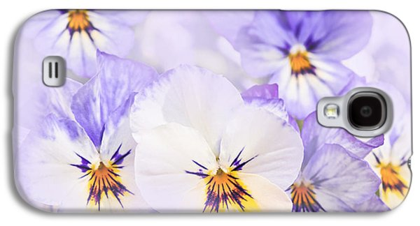 Purple Pansies Galaxy S4 Case by Elena Elisseeva