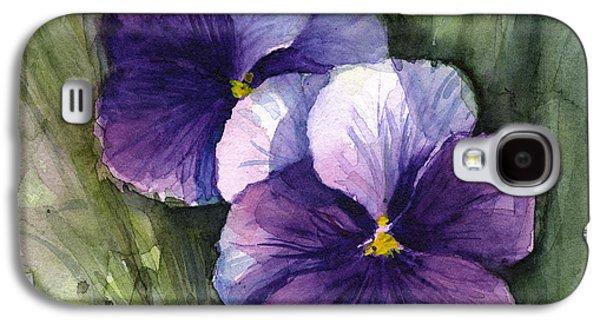 Purple Pansies Watercolor Galaxy S4 Case