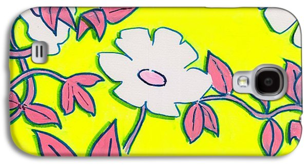 Purple Pointed Petals And Bright White Flowers Against Yellow Galaxy S4 Case by Mike Jory