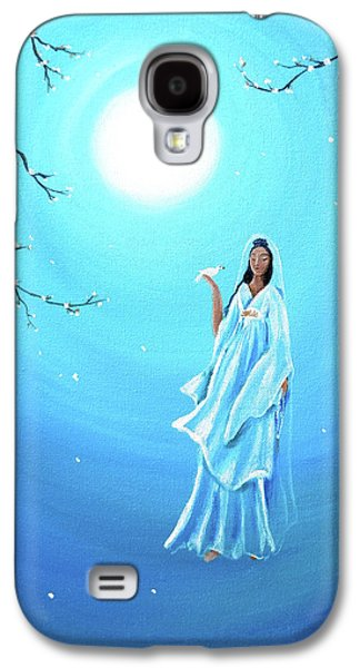 Quan Yin In Teal Moonlight Galaxy S4 Case by Laura Iverson