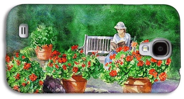Quiet Moment Reading In The Garden Galaxy S4 Case by Irina Sztukowski